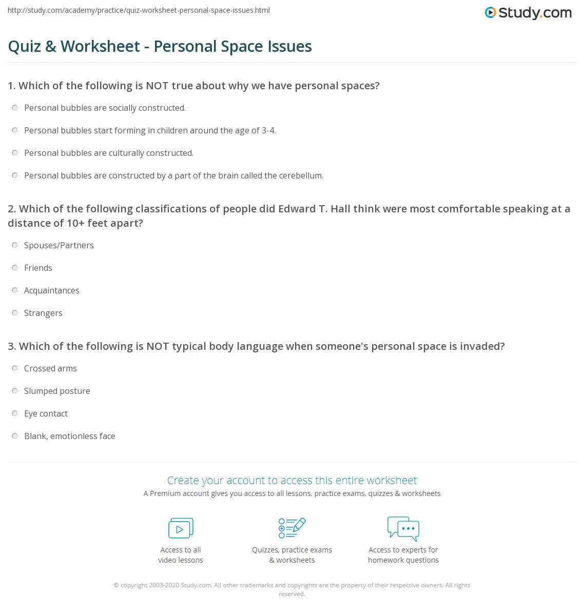 Quiz & Worksheet - Personal Space Issues | Study com