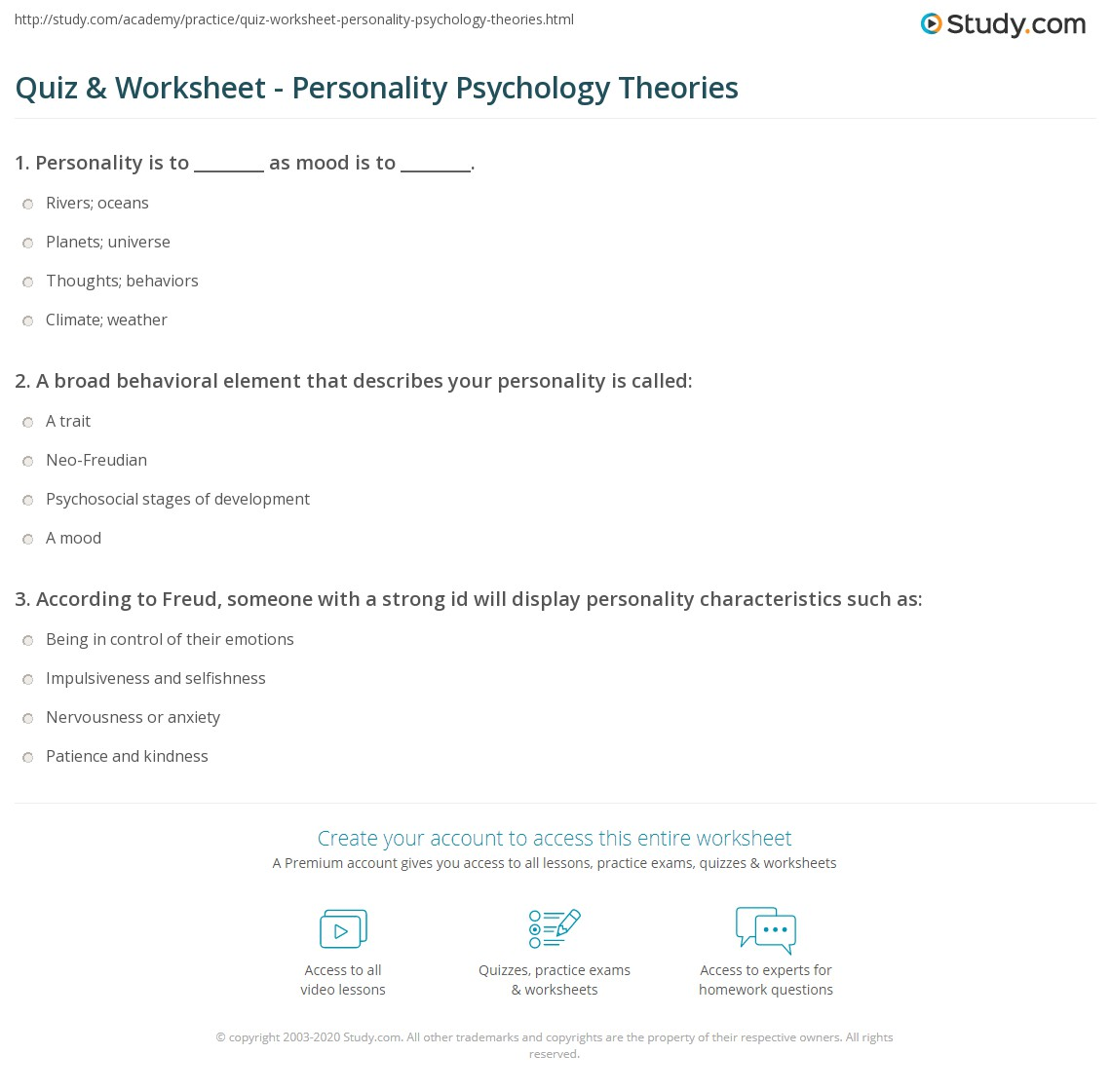 print personality psychology definition theories worksheet