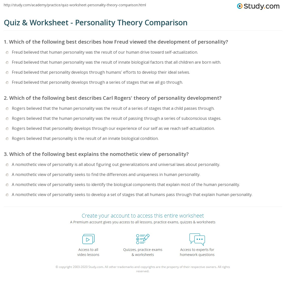 Comparison Of Personality Theories Comparison Of Theories On  Comparison Of Personality Theories
