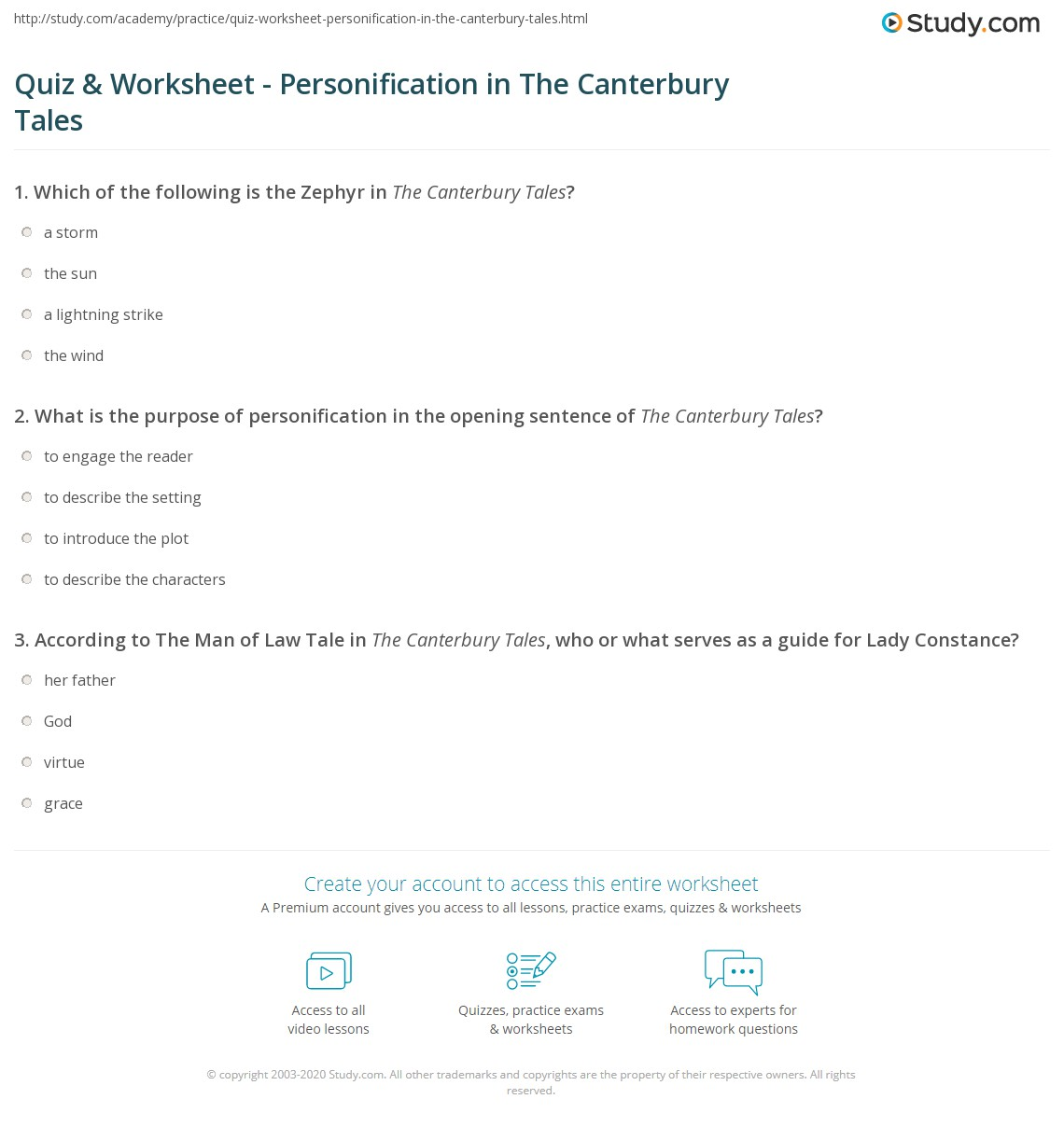 Quiz Worksheet Personification In The Canterbury Tales Study