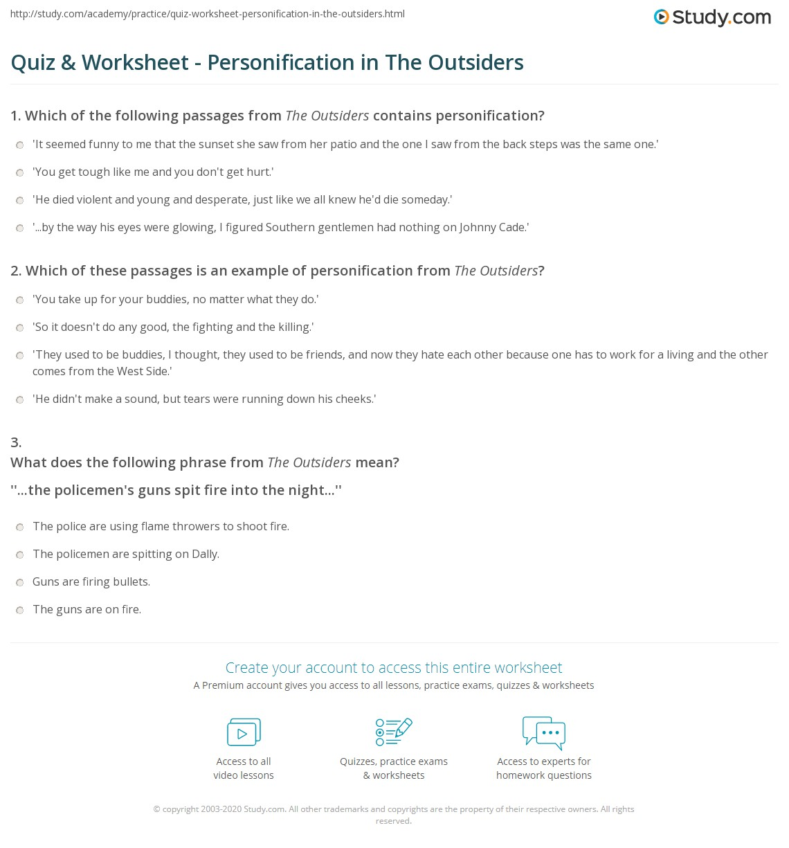 Worksheets Personification Worksheet quiz worksheet personification in the outsiders study com print worksheet