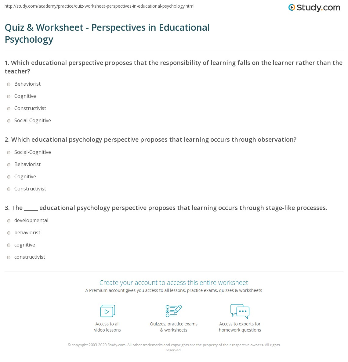 Quiz & Worksheet - Perspectives in Educational Psychology | Study.com