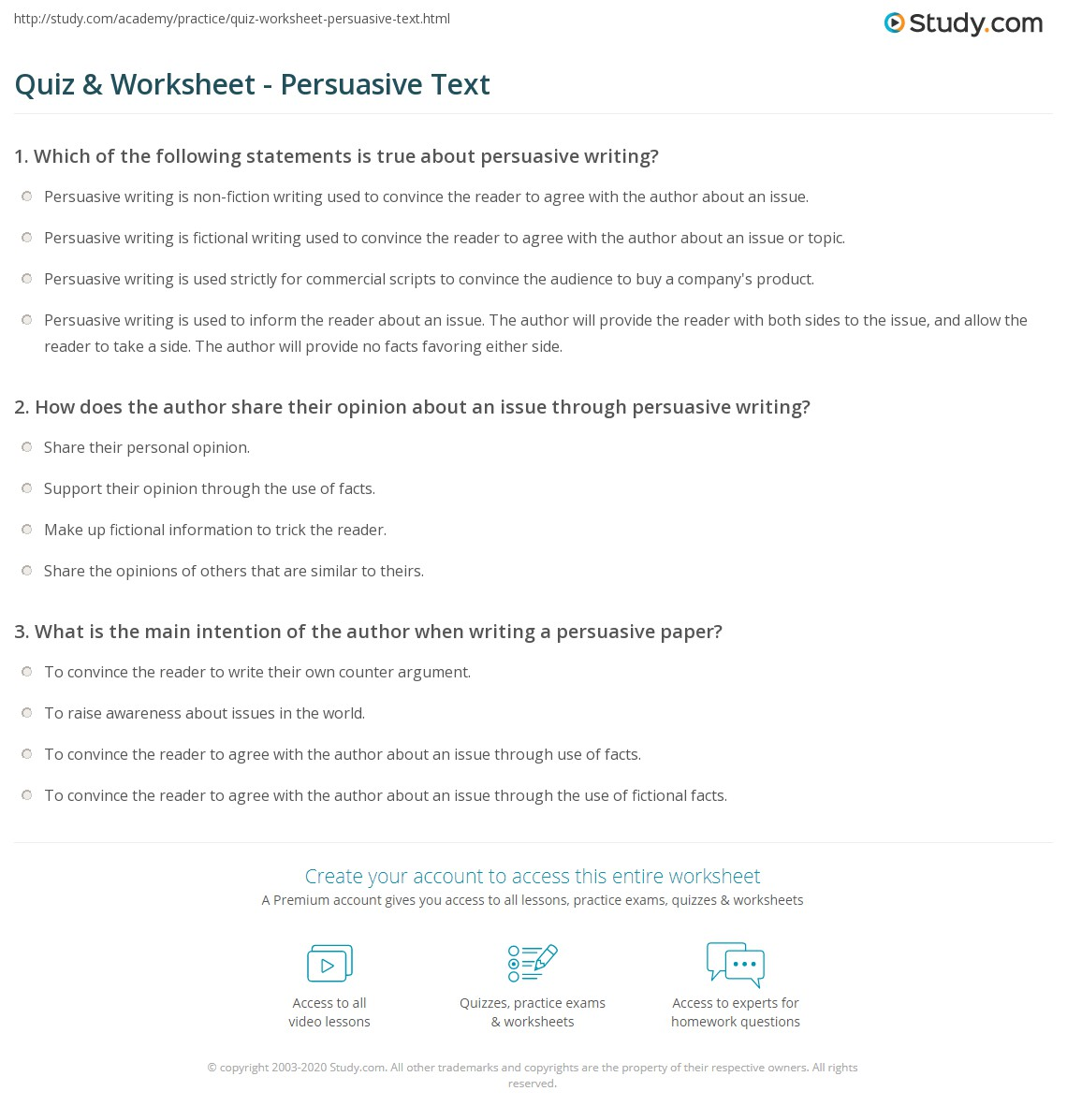 Quiz Worksheet Persuasive Text Study