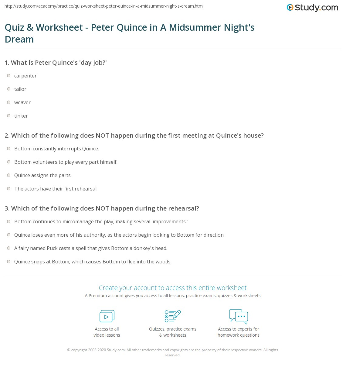 Quiz amp worksheet peter quince in a midsummer night s dream study