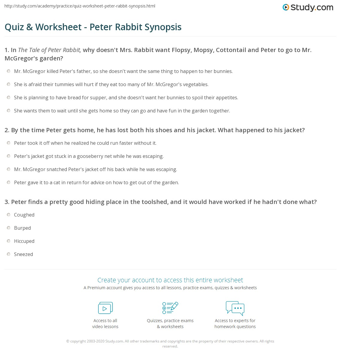 Uncategorized Frog And Toad Together Worksheets quiz worksheet peter rabbit synopsis study com print the tale of summary worksheet