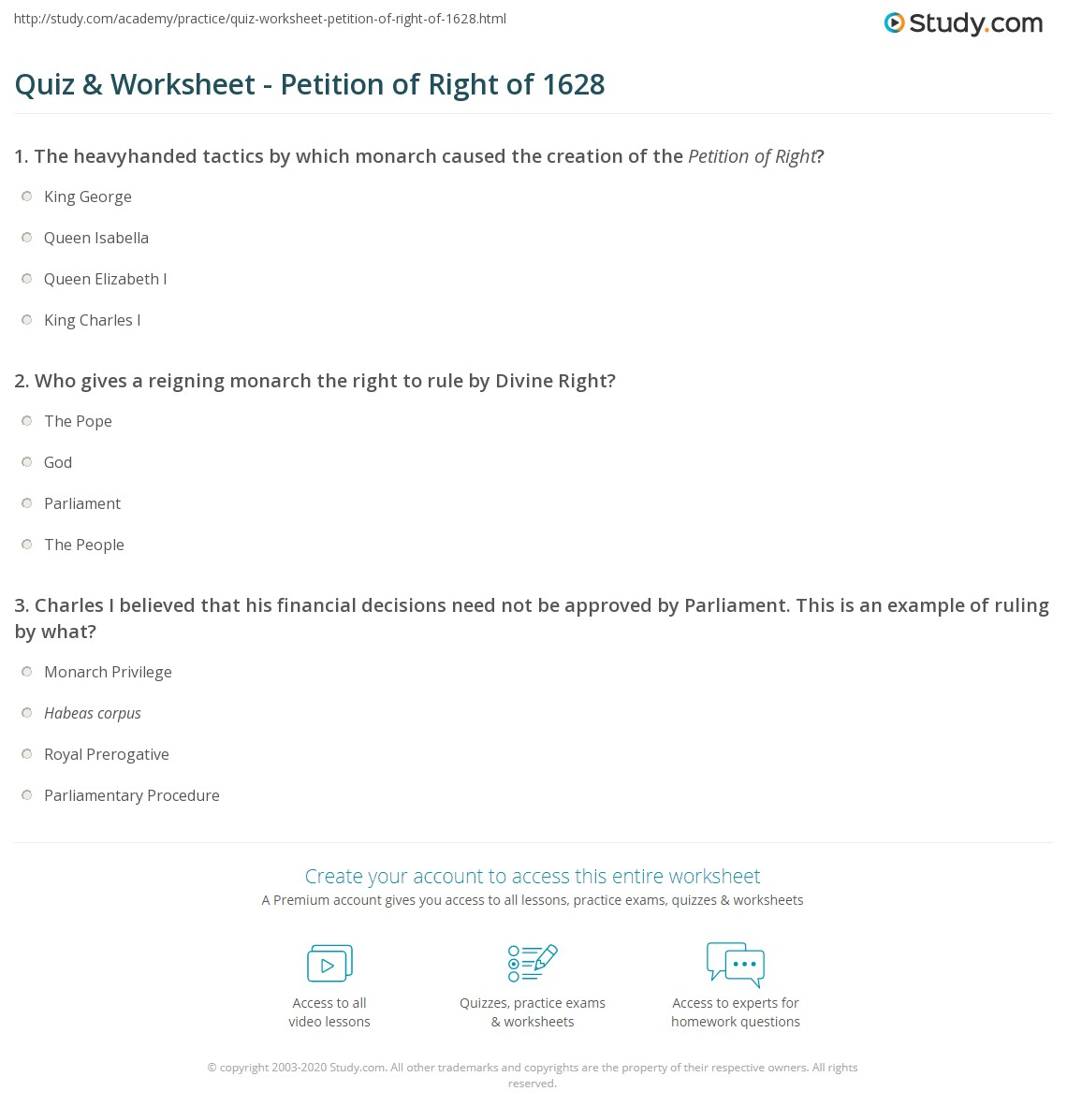 Quiz Worksheet Petition Of Right Of 1628 Study