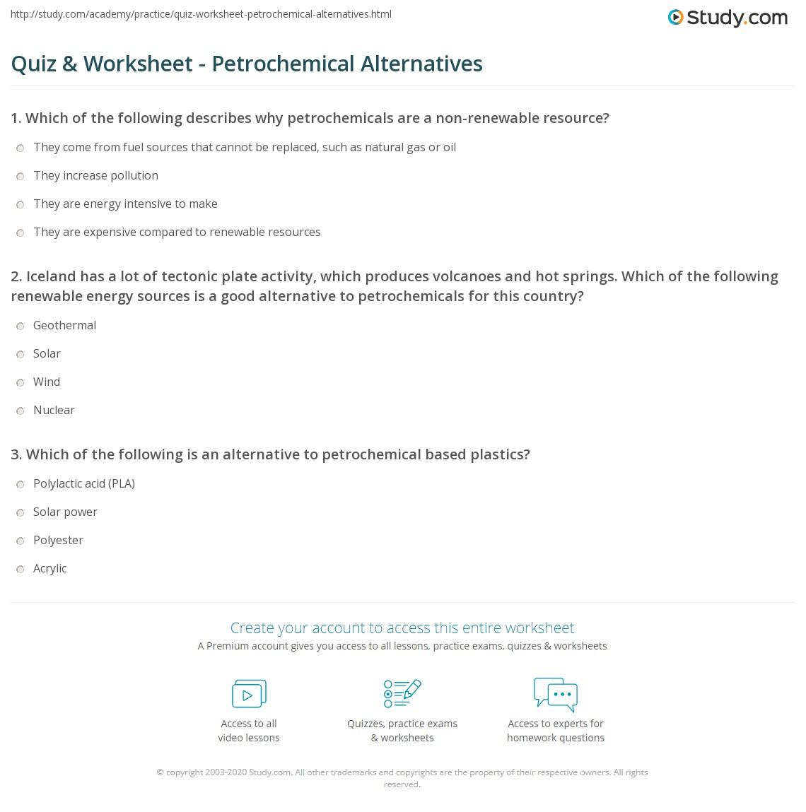 Quiz & Worksheet - Petrochemical Alternatives | Study com