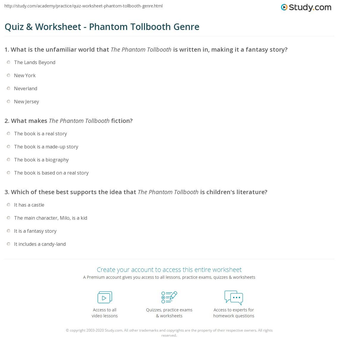 worksheet Phantom Tollbooth Worksheets quiz worksheet phantom tollbooth genre study com print what is the worksheet