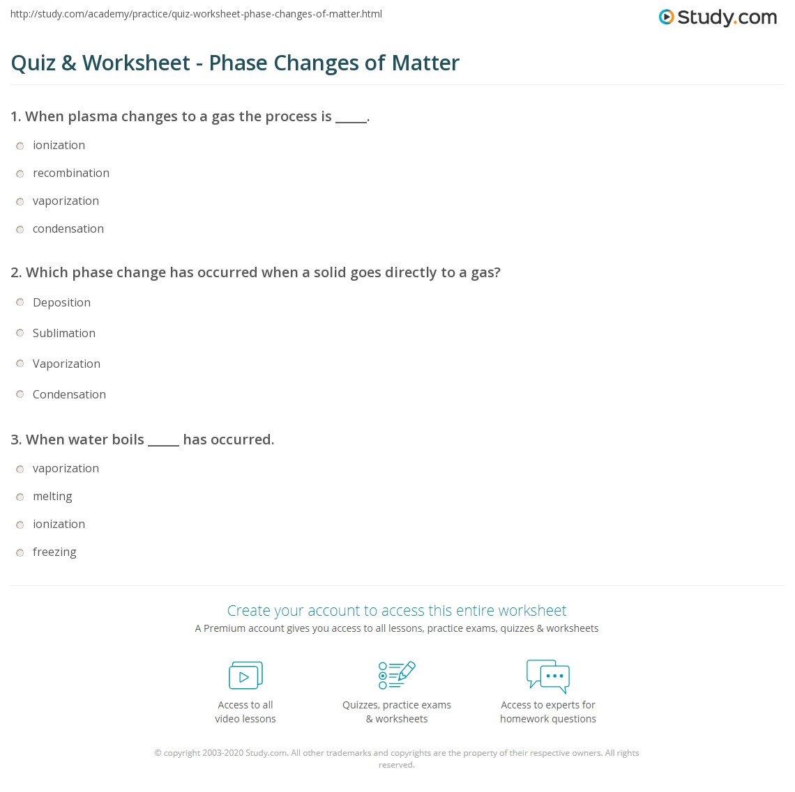 Quiz & Worksheet Phase Changes of Matter