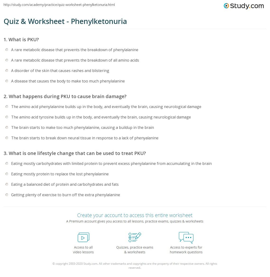 Quiz & Worksheet - Phenylketonuria | Study com