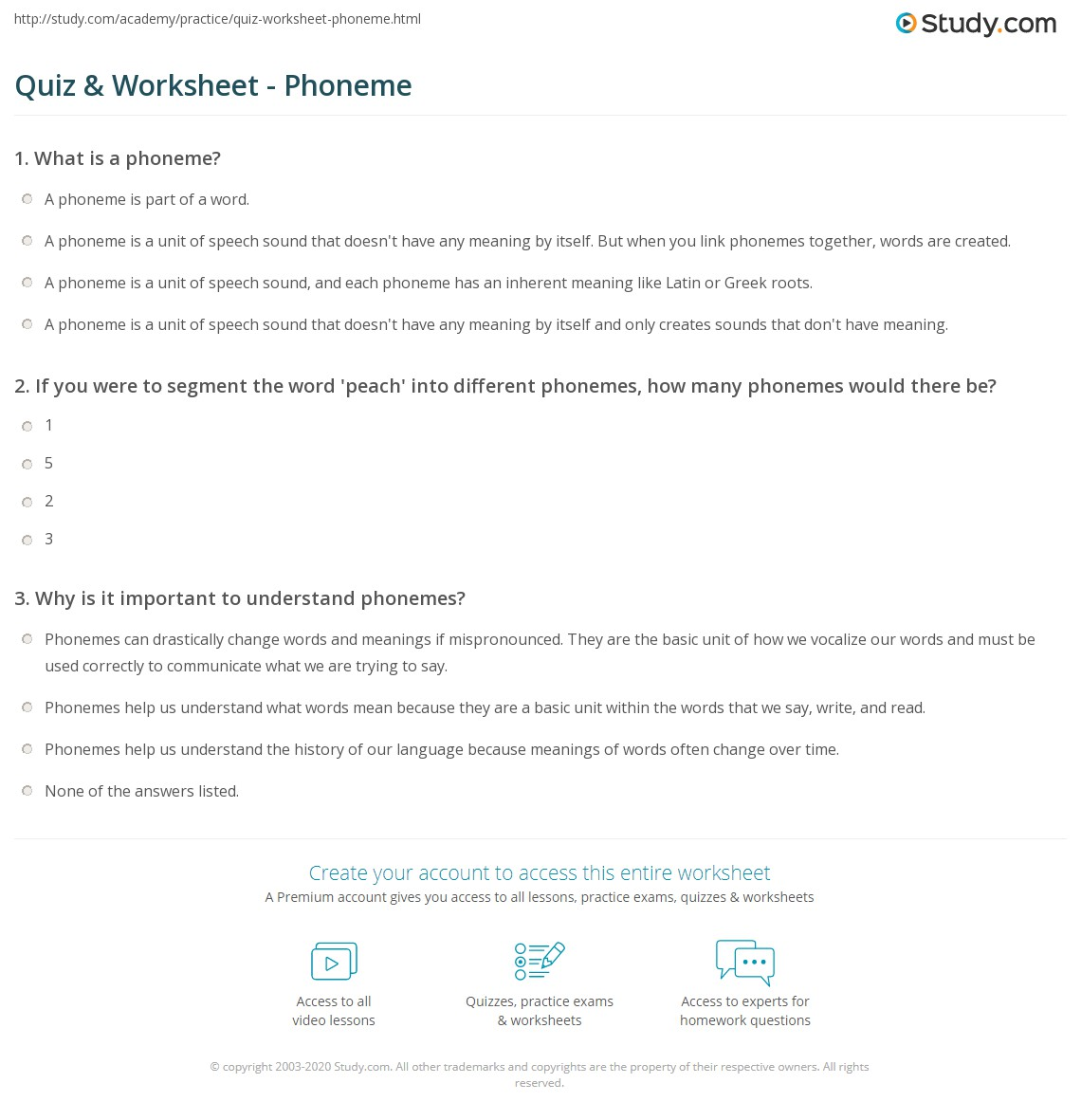 Quiz Worksheet Phoneme Study