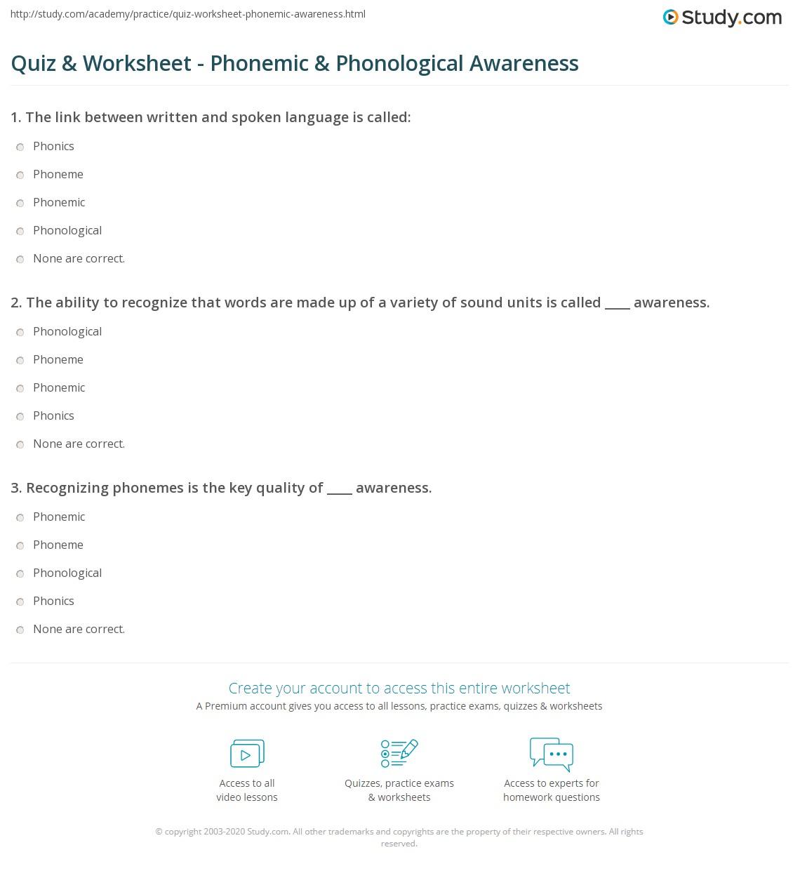 Quiz & Worksheet - Phonemic & Phonological Awareness | Study com