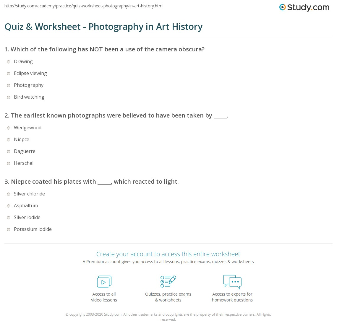 quiz worksheet photography in art history. Black Bedroom Furniture Sets. Home Design Ideas