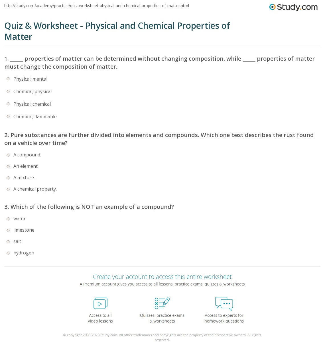 Quiz Worksheet Physical And Chemical Properties Of Matter