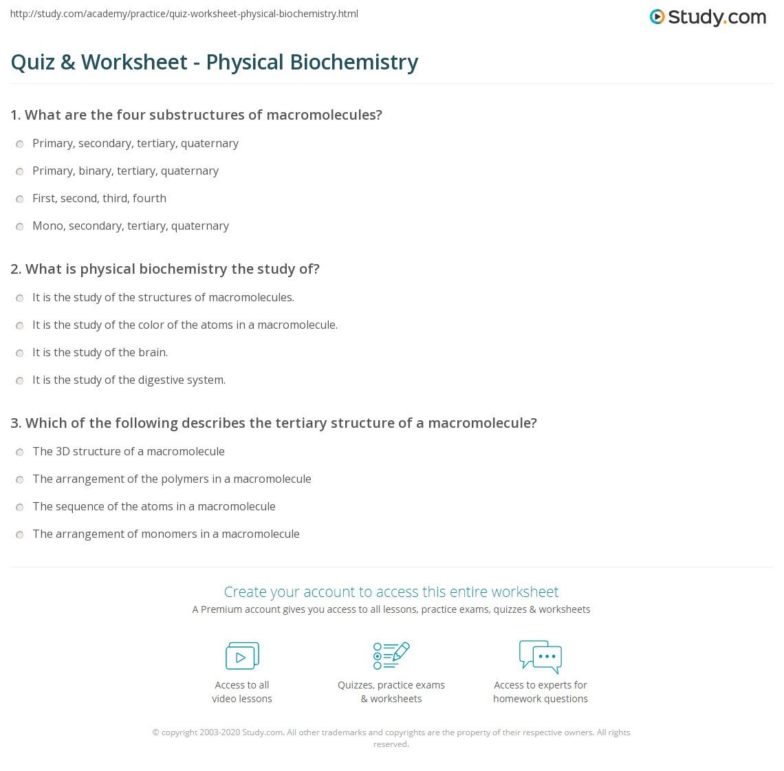 Quiz Worksheet Physical Biochemistry Study Com