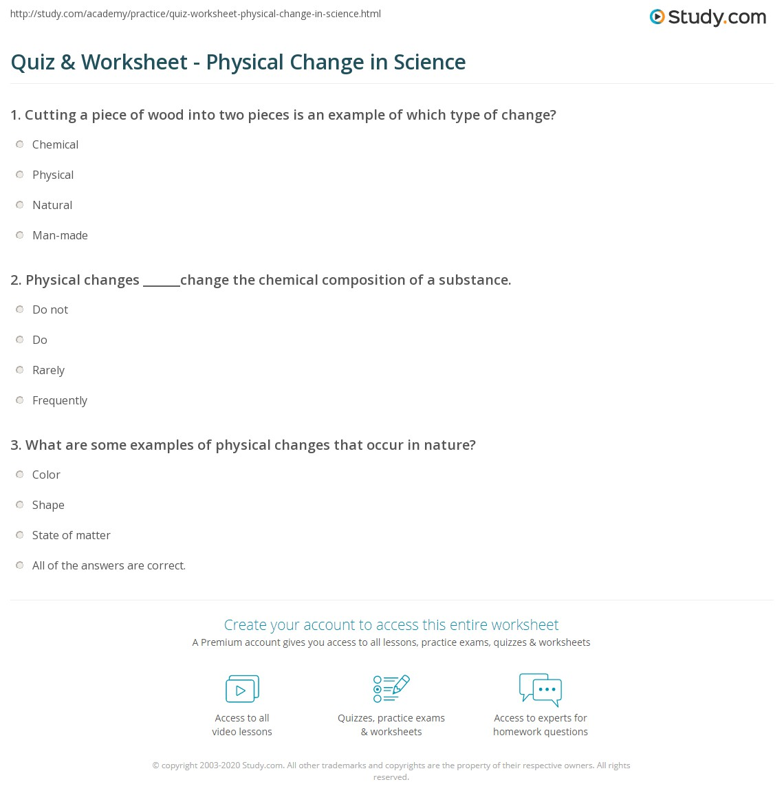 Quiz Worksheet Physical Change In Science Study