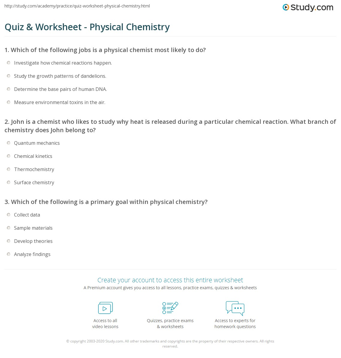 Quiz & Worksheet - Physical Chemistry | Study com