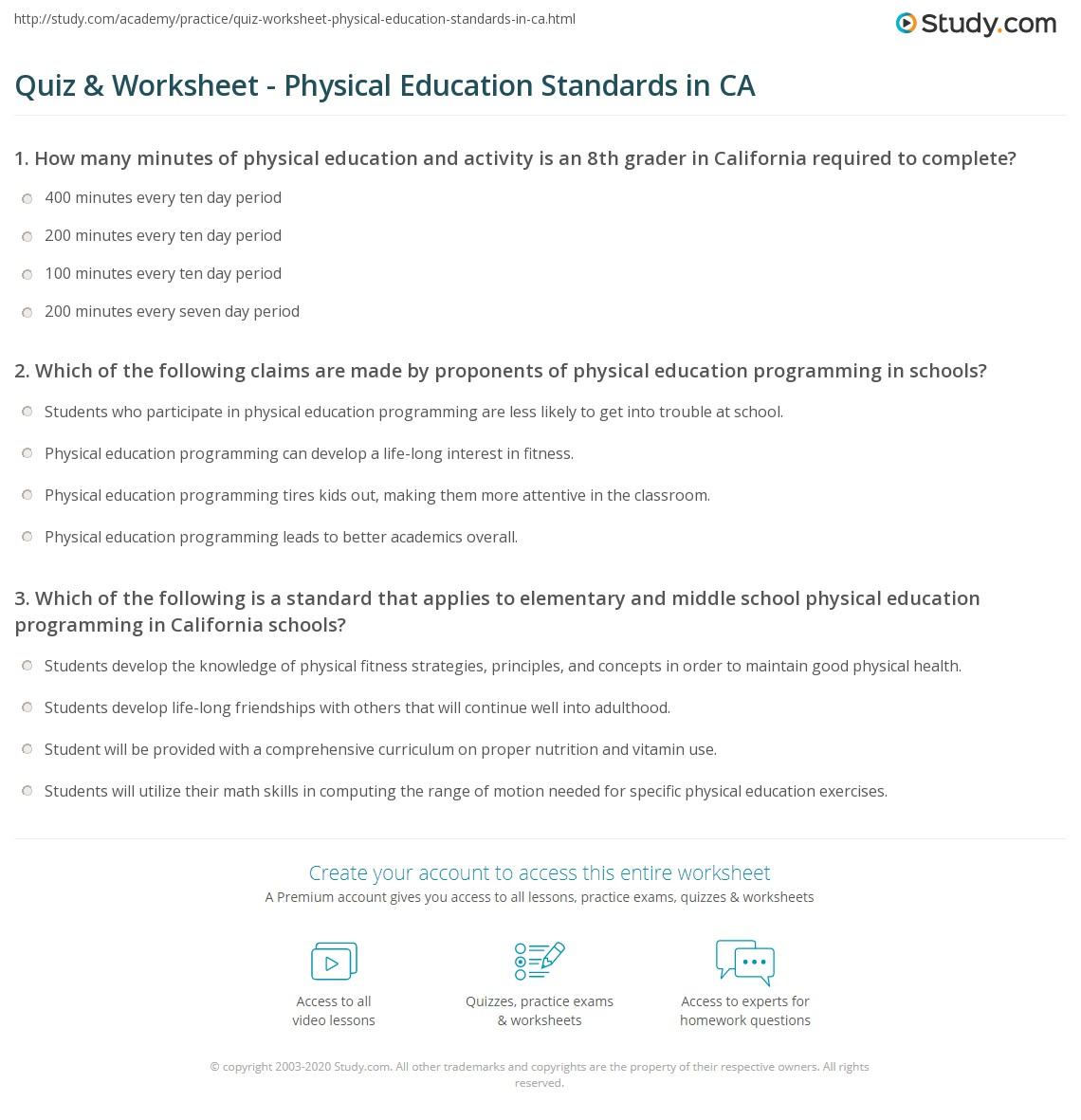 Worksheets Physical Education Worksheets For Middle School quiz worksheet physical education standards in ca study com print california state worksheet