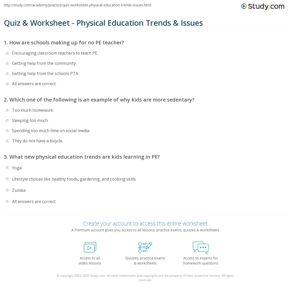 Quiz & Worksheet - Physical Education Trends & Issues | Study.com