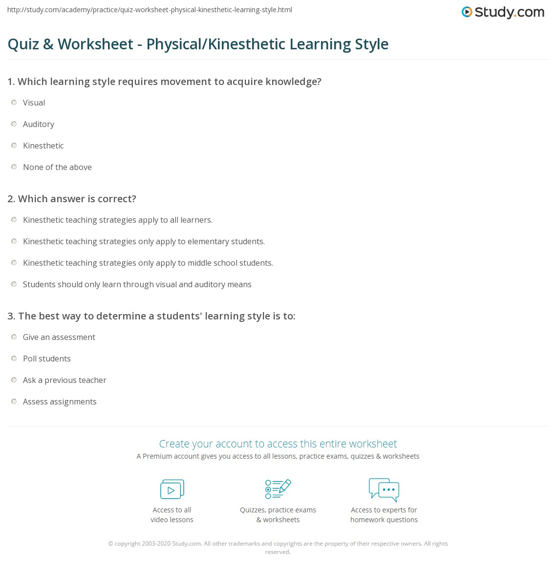 what is the kinesthetic learning style