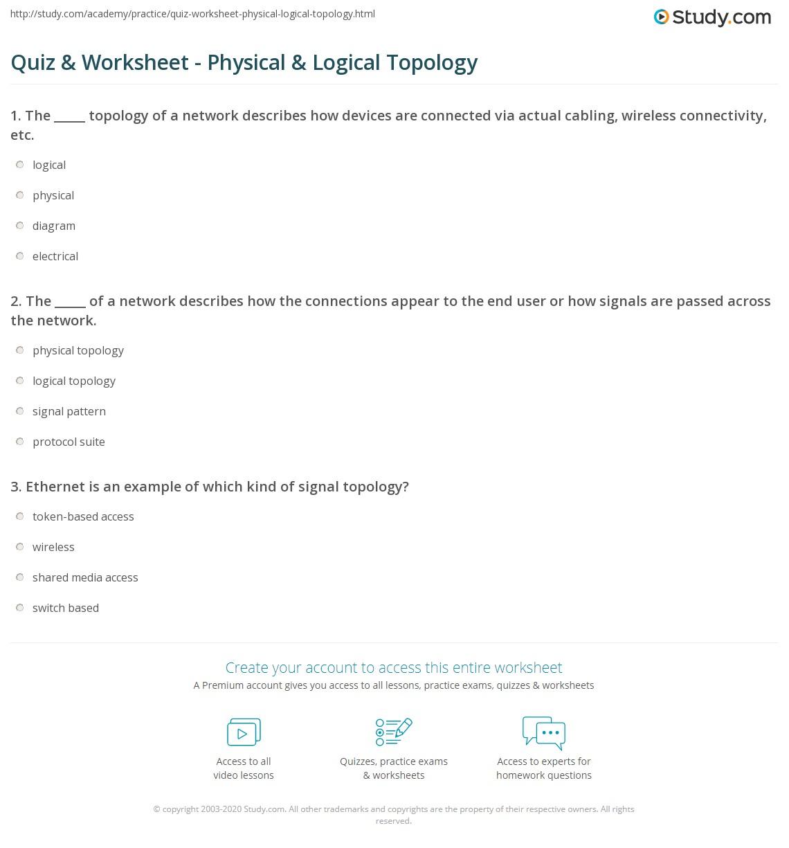 quiz worksheet physical logical topology. Black Bedroom Furniture Sets. Home Design Ideas