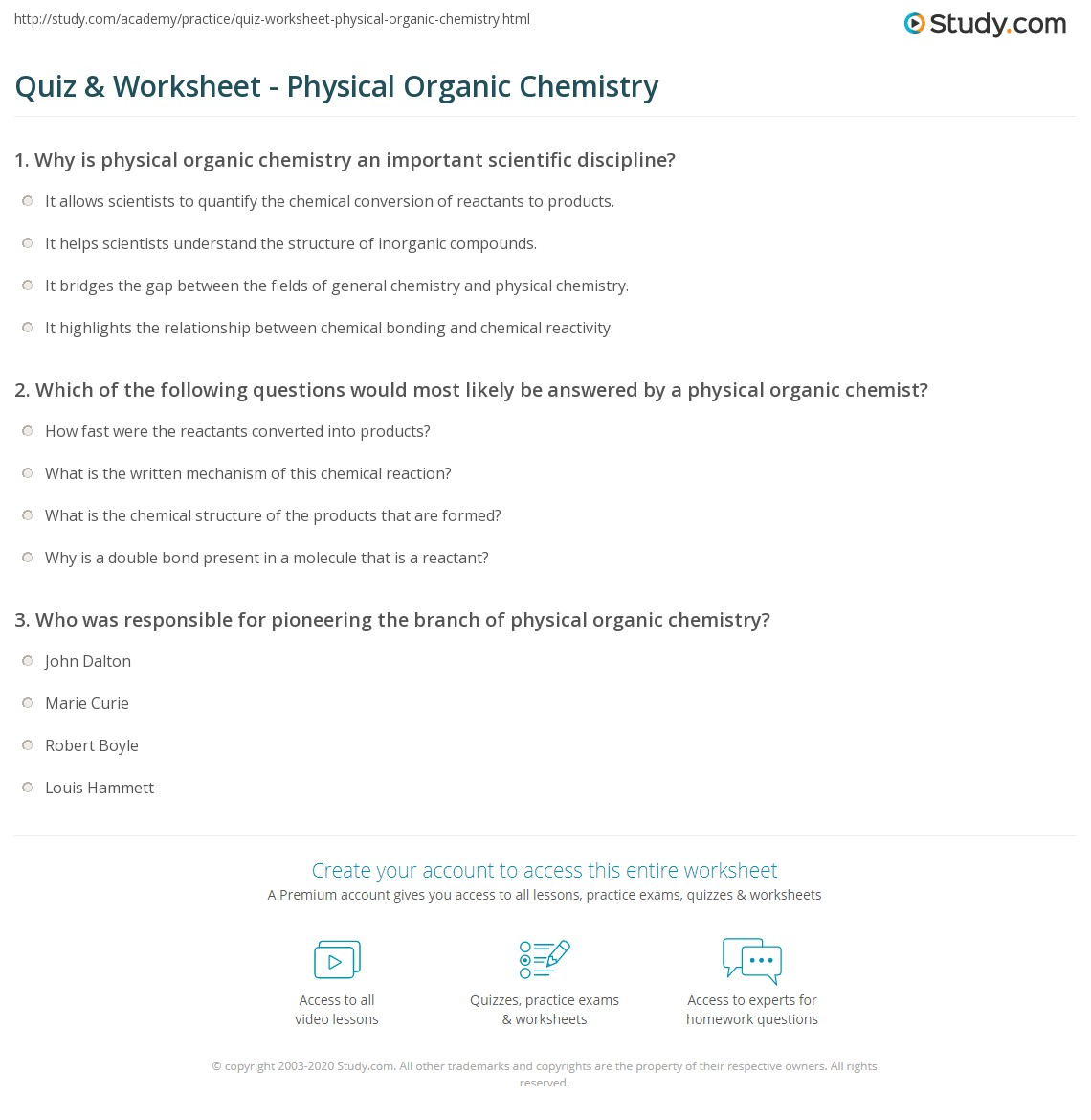 Quiz & Worksheet - Physical Organic Chemistry | Study com
