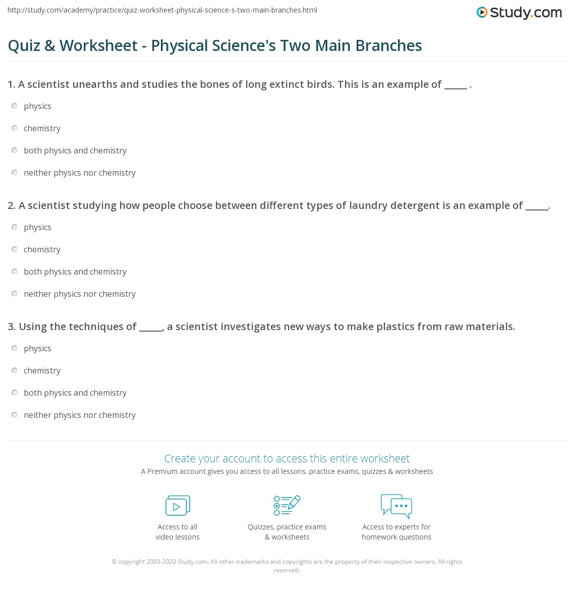 Quiz & Worksheet - Physical Science's Two Main Branches | Study.com