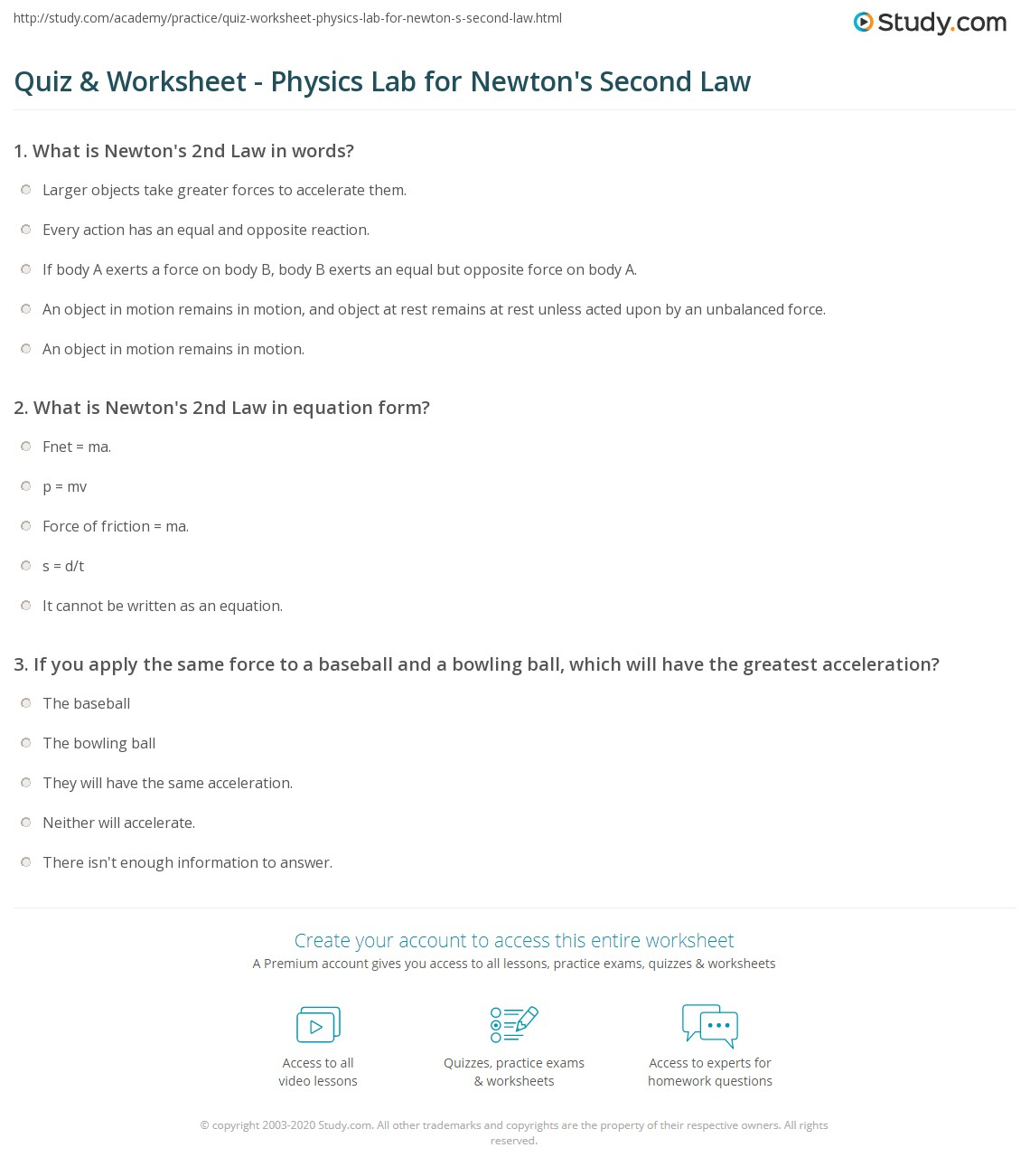 Quiz Worksheet Physics Lab For Newton 39 S Second Law