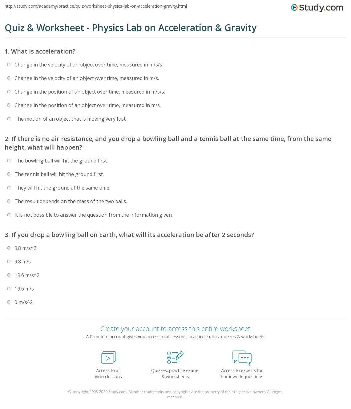 Quiz Worksheet Physics Lab On Acceleration Gravity
