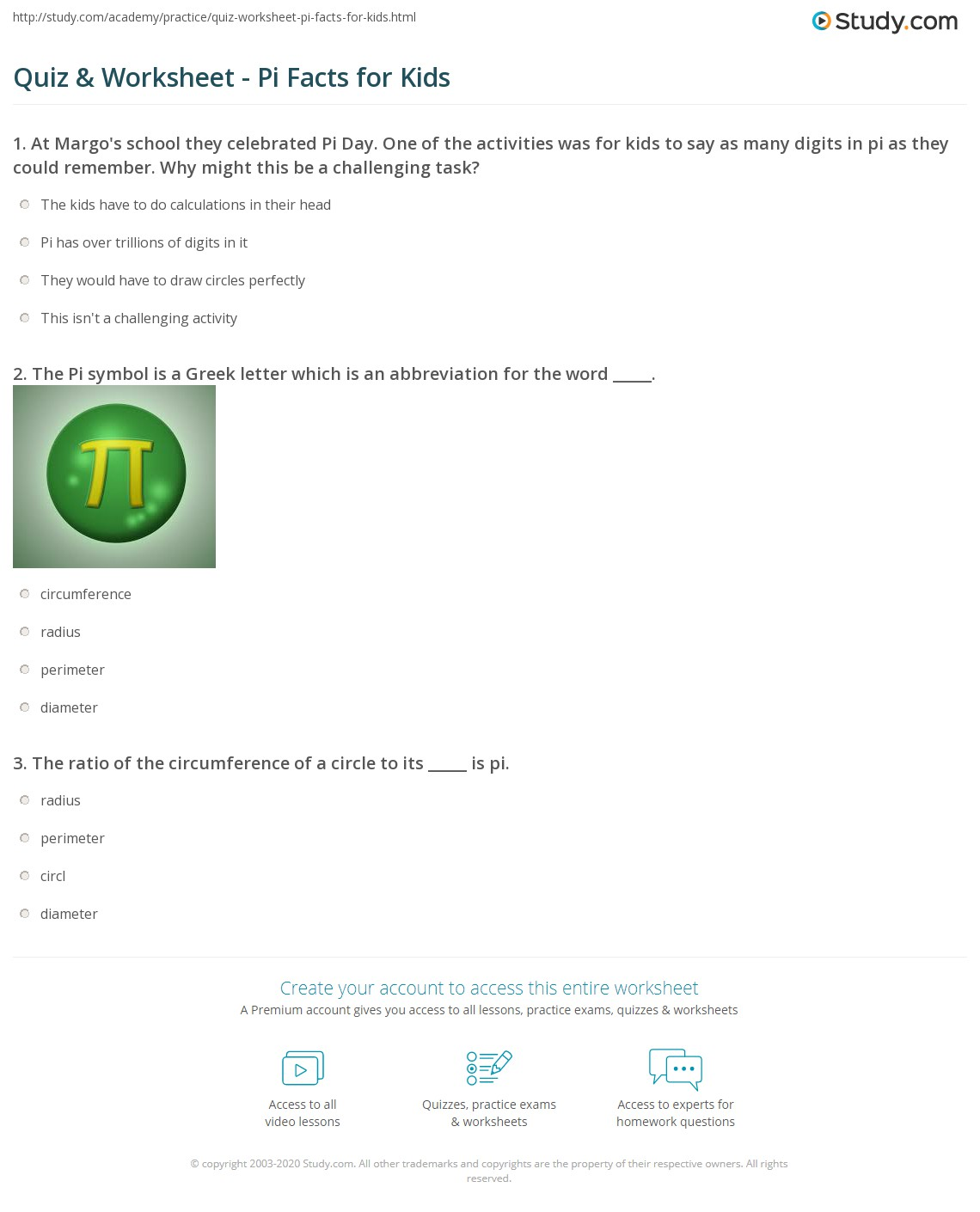 Quiz Worksheet Pi Facts For Kids Study