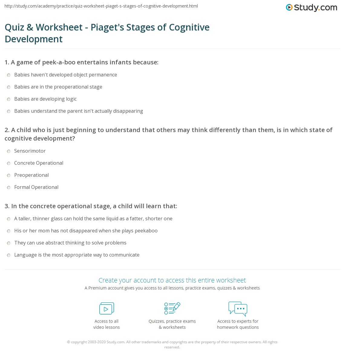 quiz worksheet piaget 39 s stages of cognitive development. Black Bedroom Furniture Sets. Home Design Ideas