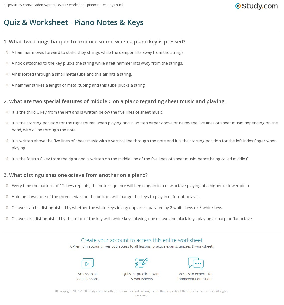 Quiz & Worksheet - Piano Notes & Keys   Study com