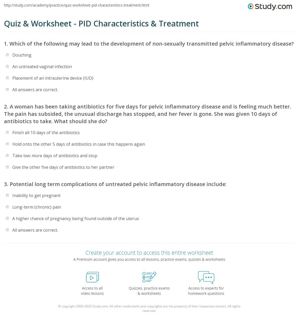 quiz worksheet pid characteristics treatment. Black Bedroom Furniture Sets. Home Design Ideas