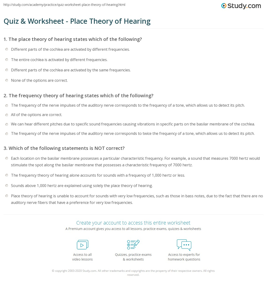 worksheet Hearing Worksheet quiz worksheet place theory of hearing study com print definition explanation worksheet