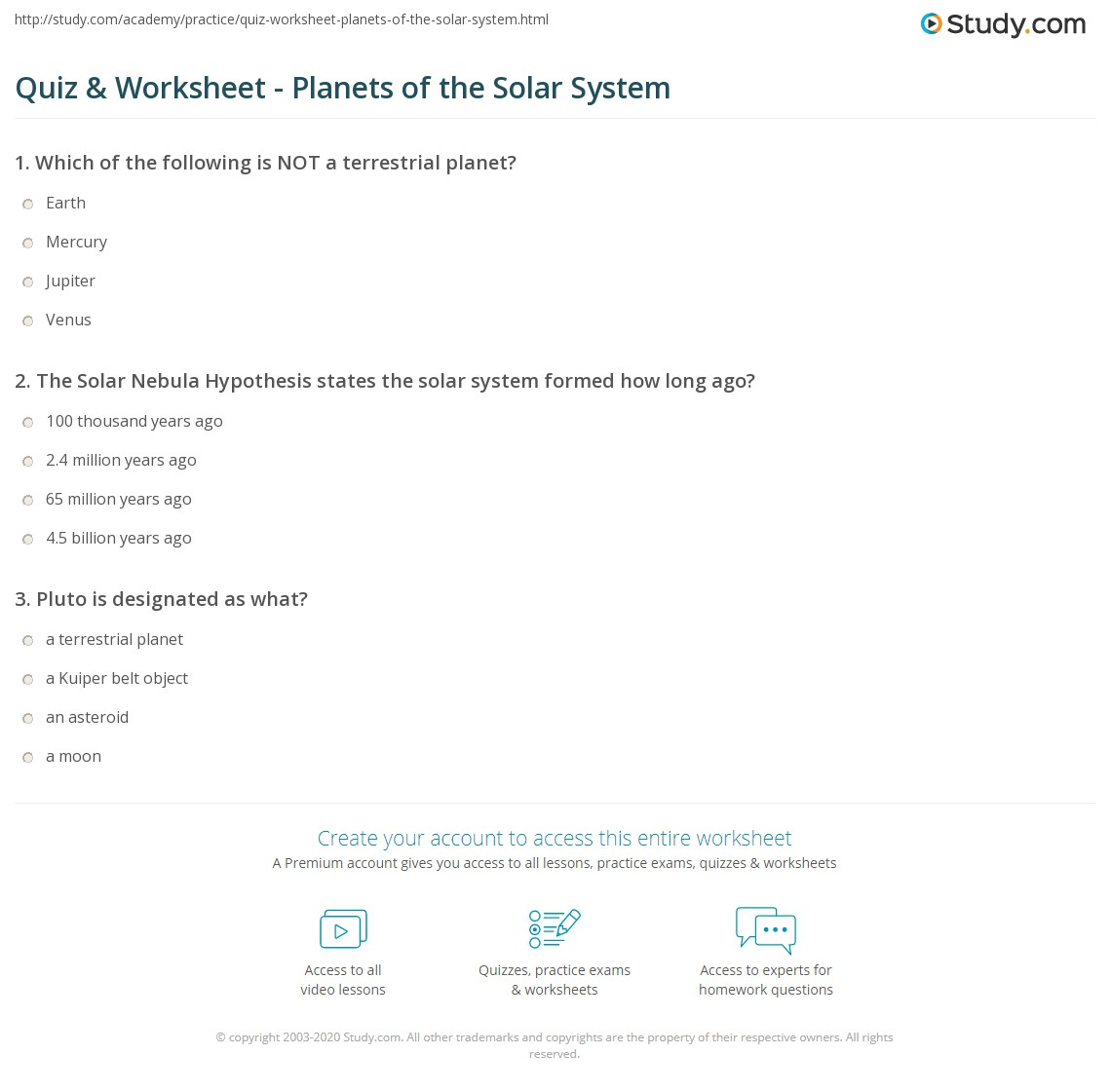 Quiz Worksheet Planets Of The Solar System Study