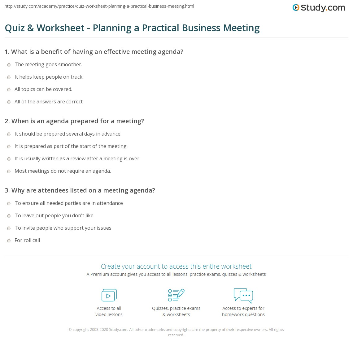 Print Creating A Practical Meeting Agenda Worksheet