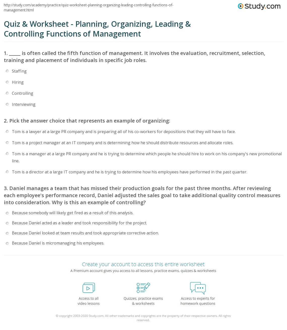 Print Four Functions of Management: Planning, Organizing, Leading &  Controlling Worksheet