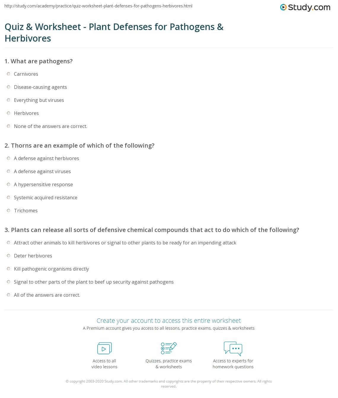 Quiz Worksheet Plant Defenses For Pathogens Herbivores