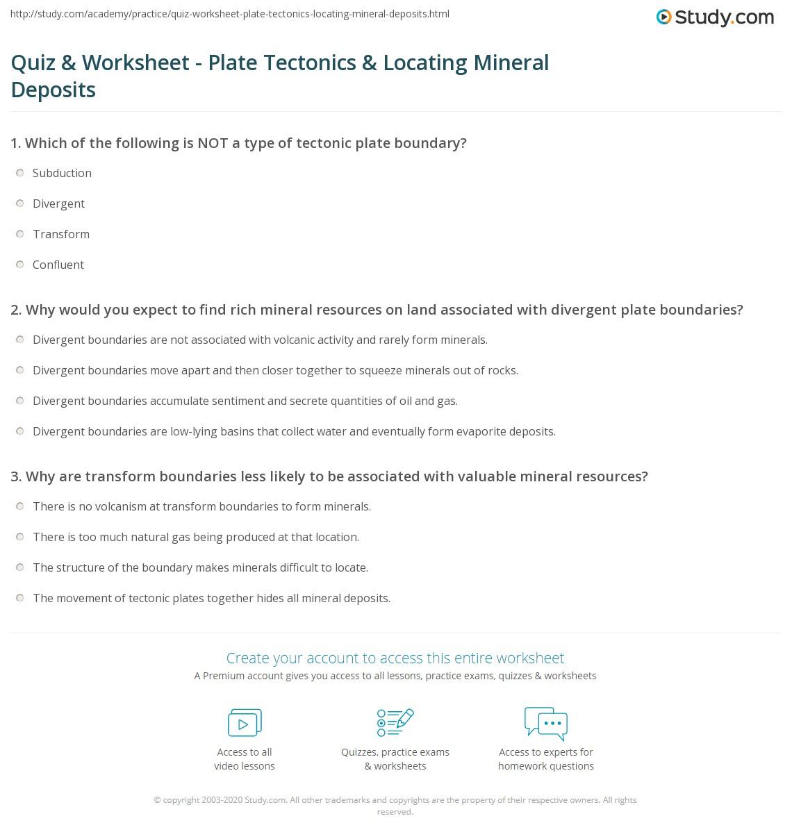 quiz worksheet plate tectonics locating mineral deposits. Black Bedroom Furniture Sets. Home Design Ideas