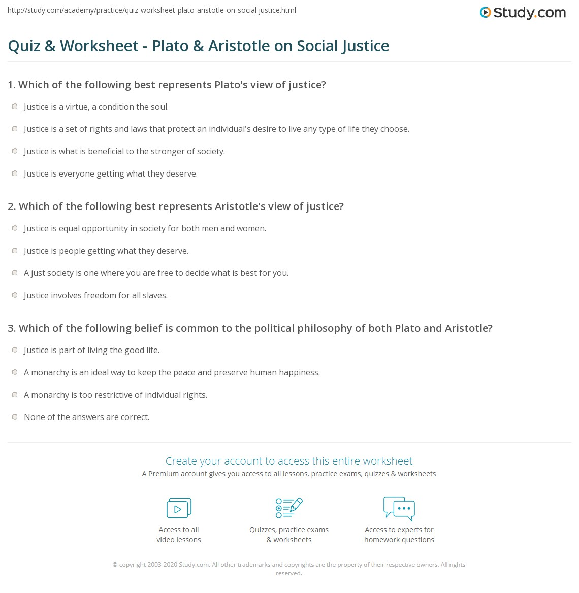 Quiz Worksheet Plato Aristotle On Social Justice