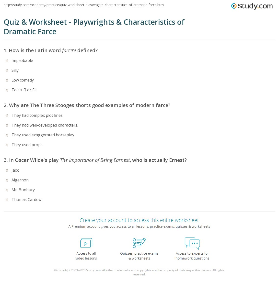 Quiz Worksheet Playwrights Characteristics Of Dramatic Farce