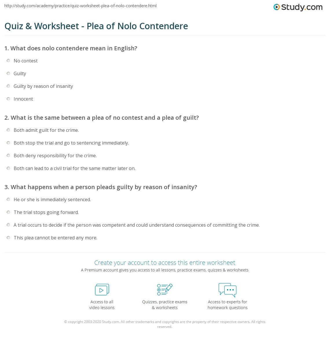 Quiz & Worksheet - Plea of Nolo Contendere | Study com