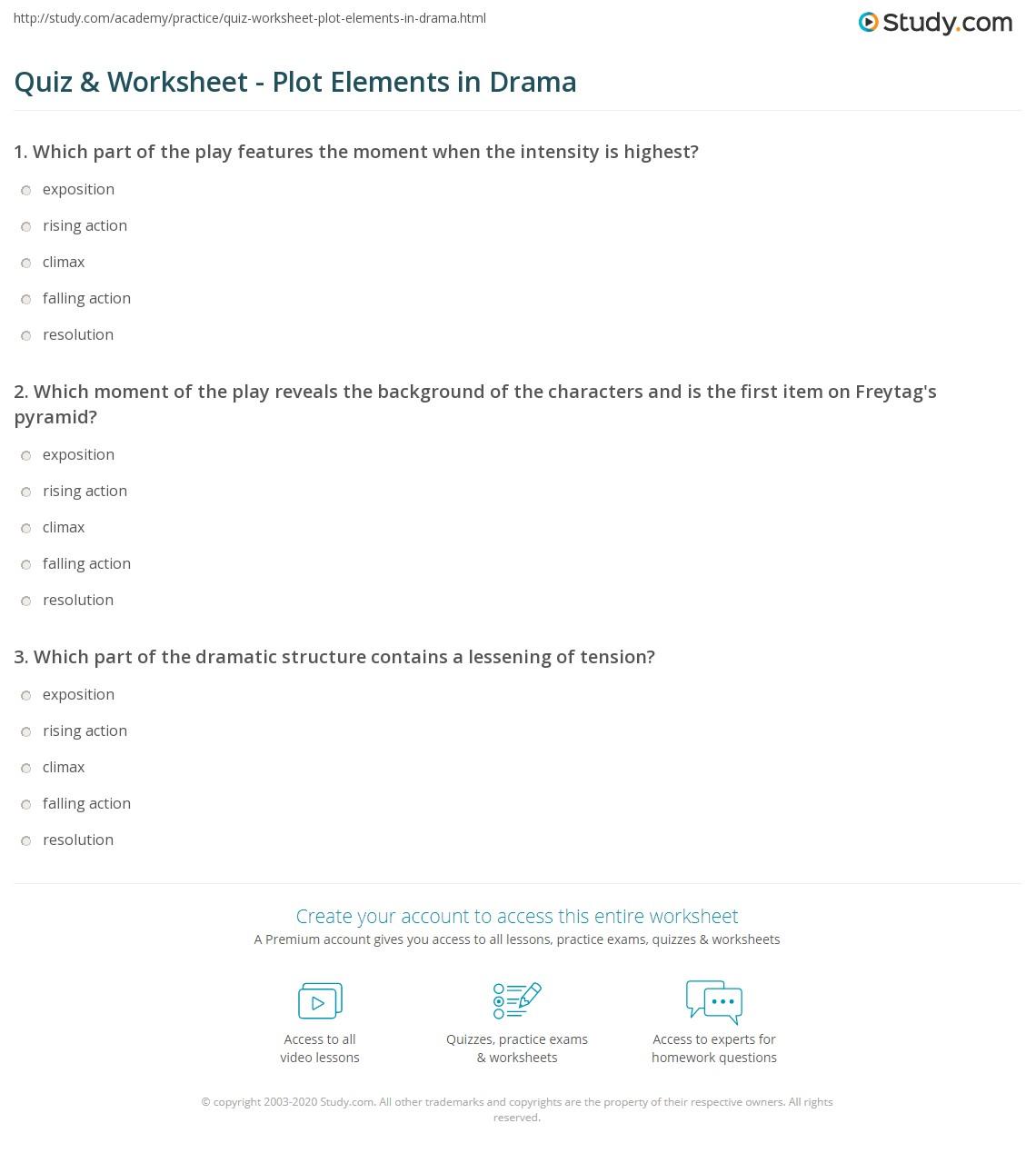 Uncategorized Elements Of Plot Worksheet quiz worksheet plot elements in drama study com print from exposition to resolution worksheet