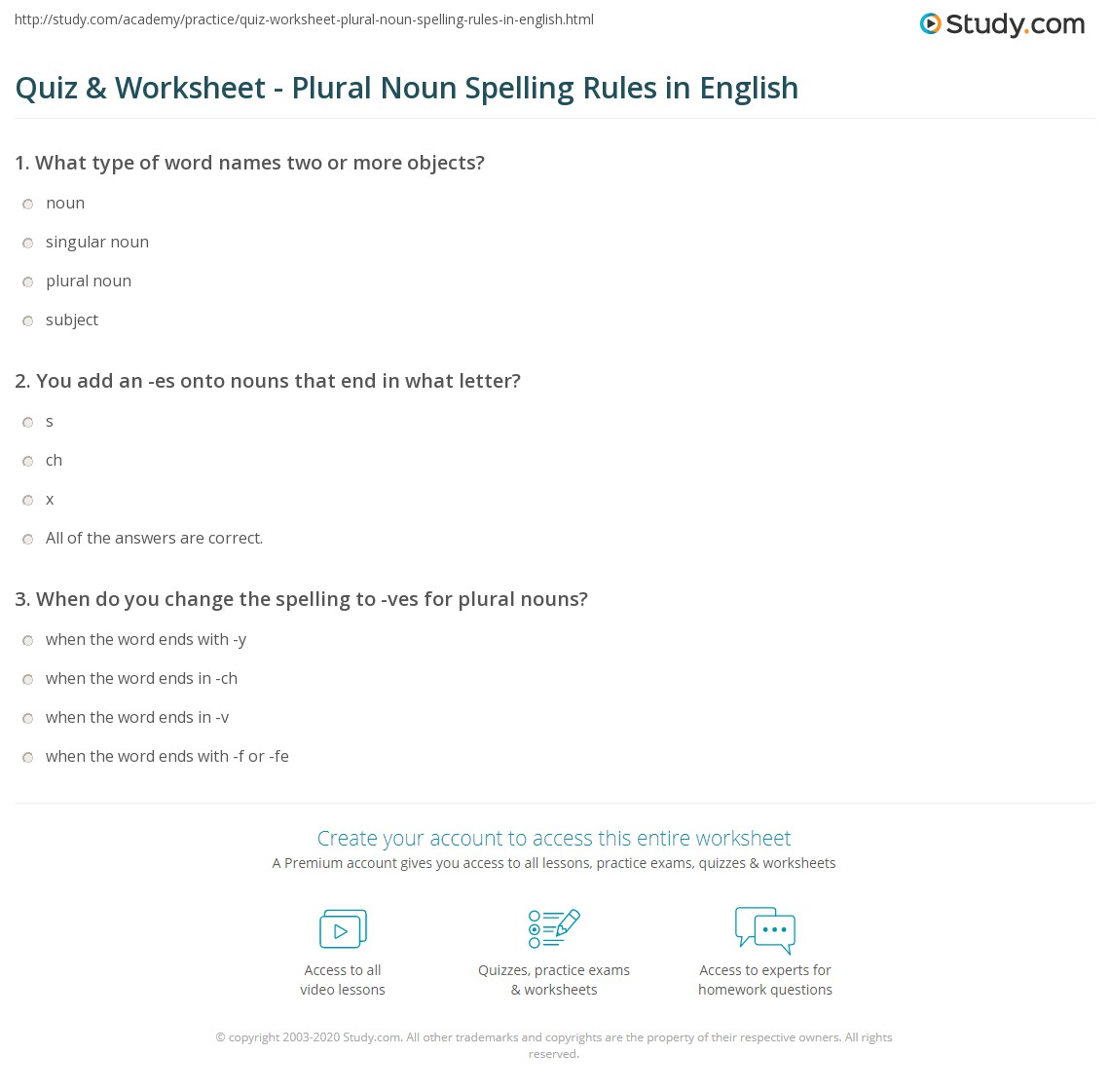 Quiz Worksheet Plural Noun Spelling Rules In English Study
