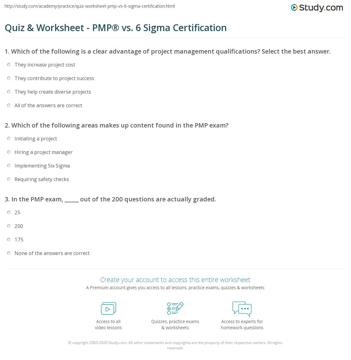 Quiz Worksheet Pmp Vs 6 Sigma Certification Study