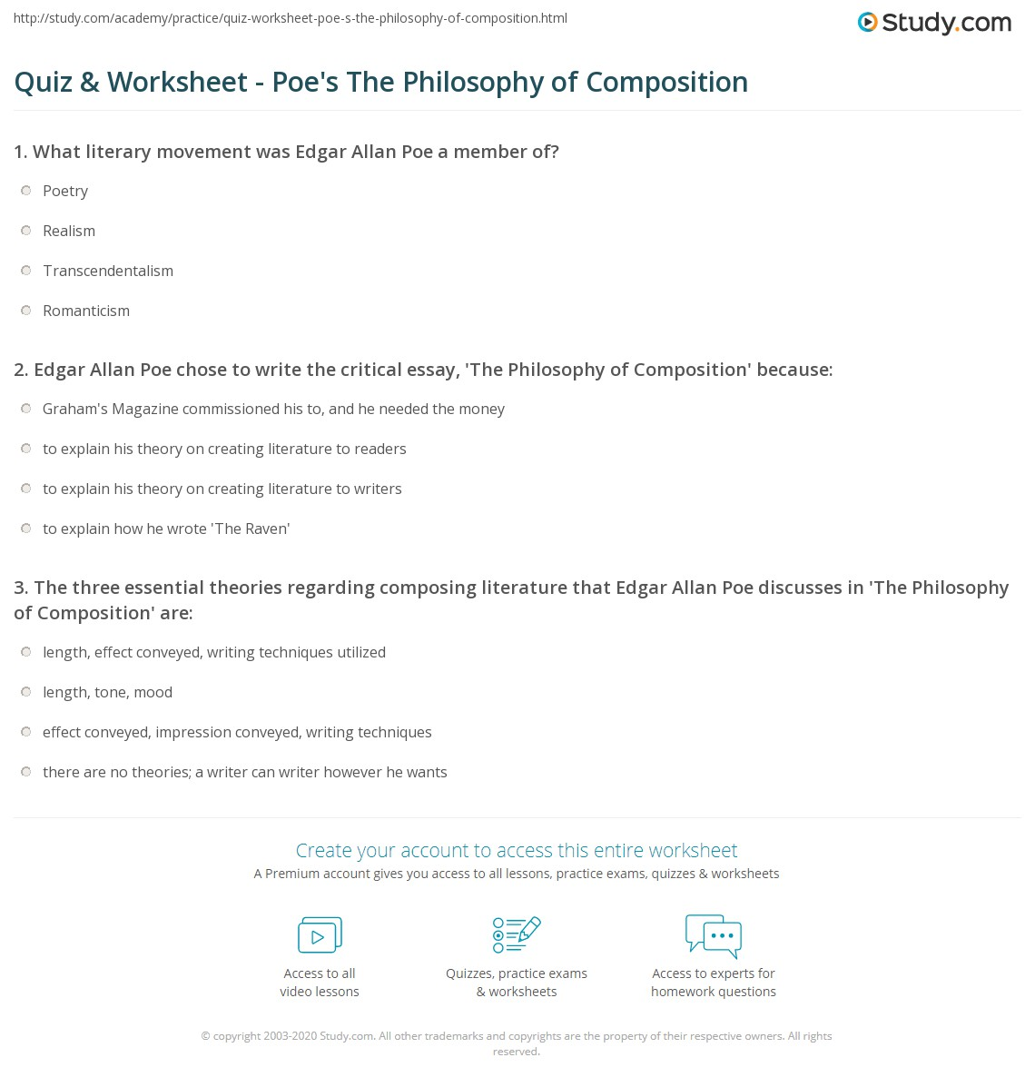 poe essay quiz worksheet poe s the philosophy of composition com  quiz worksheet poe s the philosophy of composition com edgar allan poe chose to write the