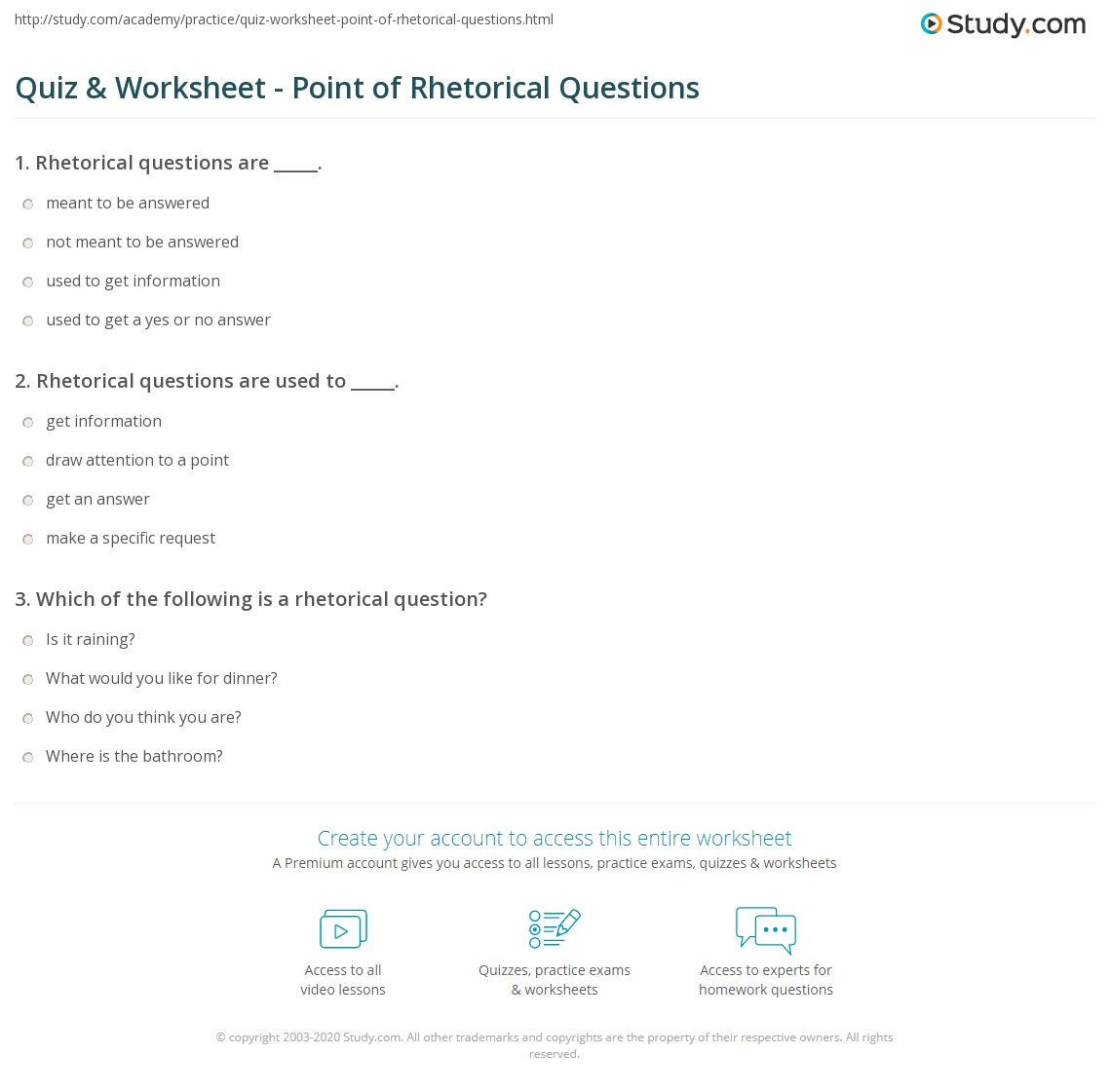Quiz & Worksheet - Point of Rhetorical Questions | Study.com