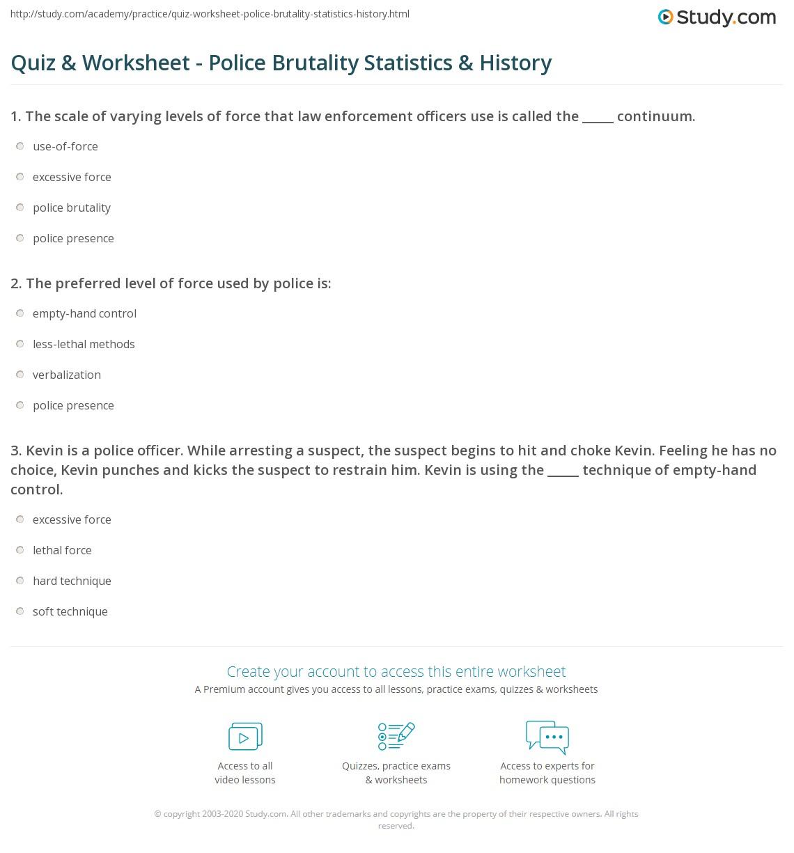 quiz worksheet police brutality statistics history. Black Bedroom Furniture Sets. Home Design Ideas