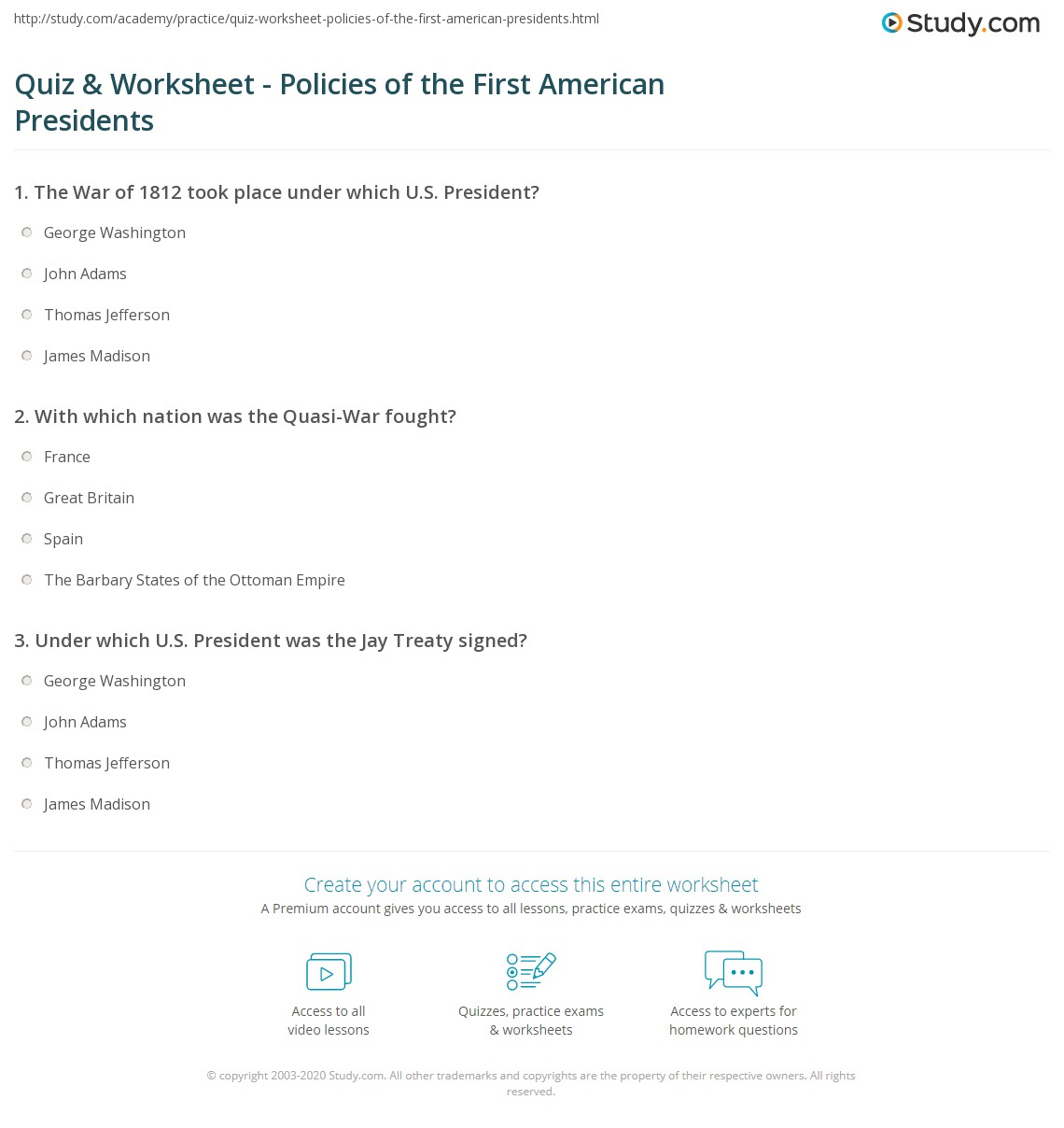 Quiz & Worksheet - Policies of the First American Presidents | Study.com