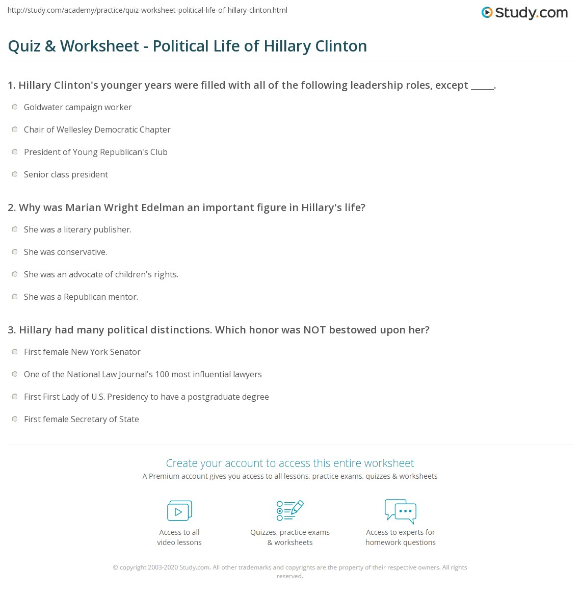 resume Hillary Clinton Resume quiz worksheet political life of hillary clinton study com print as a leader worksheet